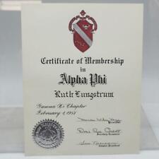 Sorority Membership Certificate Alpha Phi 1958 Vintage
