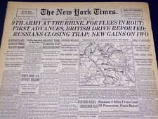 1945 MAR 3 NEW YORK TIMES - 9TH ARMY AT THE RHINE, FOE FLEES IN ROUT - NT 549