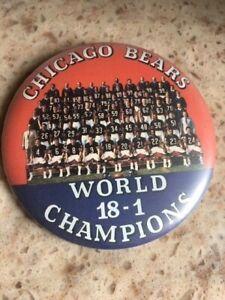 Rare CHICAGO BEARS 1985 18-1 World Champions Super Bowl TEAM PICTURE Pin Button