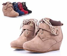 Taupe Lace Up Girls Wedge High Heels Kids Toddler Ankle Boots Shoes Size 10