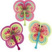 Pack of 6 - Paper Butterfly Shaped Folding Fans - Party Bag Fillers