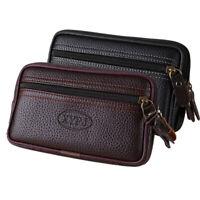 Summer Men Retro PU Leather Zipper Wallet Bag Mobile Phone Bag Pocket Coin Purse