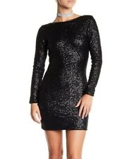 NEW Dress the Population Kelly Long Sleeve Sequin Dress Black [SZ Medium] #G100