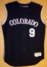 COLORADO ROCKIES JAMIE QUIRK Black Vest #9 GAME WORN MLB ALTERNATE JERSEY