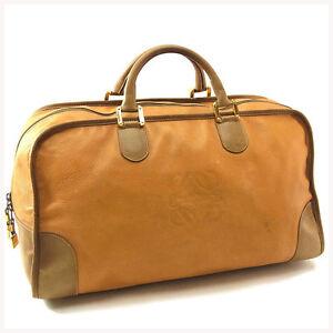 Loewe Boston bag Monogram Mini Agenda Brown Beige Woman Authentic Used Y3137
