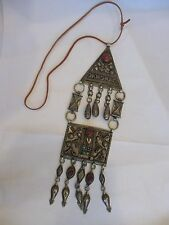 BIG TRIBAL INDIAN RAJASTHAN OLD SILVER ? CHINESE ? TURKOMAN ? PENDANT NECKLACE