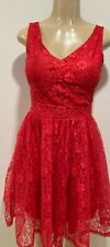 New fashion sexy party elegant dress red lace sleeveless short dress-SM