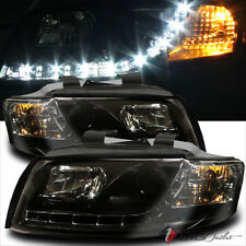 For 2002-2005 Audi A4 S4 R8 DRL LED Projector Blk Headlights Head Lights Pair