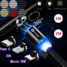 1-2M 360°Auto-Connect Runde magnetische Ladegerät Type C/IOS/Micro USB Ladekabel