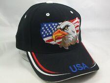 American Flag Eagle USA Hat Black Hook Loop Baseball Cap