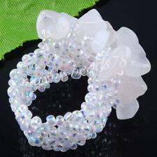 Free shipping Natural Rose Quartz Chip Stone Beads Stretch Finger Ring MJ153