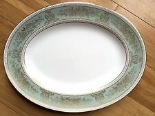 Wedgwood Gold Columbia Sage Green Gold Trim Large Oval Serving Platter 13 3/4""