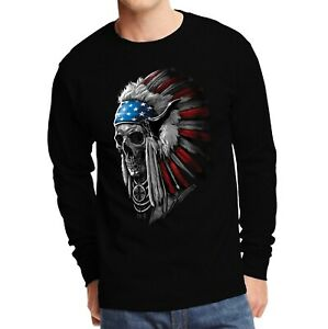 Velocitee Mens Long Sleeve T-Shirt Native American Indian Chief Skull A20967