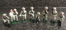 8 Vintage Grey Iron Doughboy Metal Toy Soldiers WWI w/ RARE Wounded Soldier