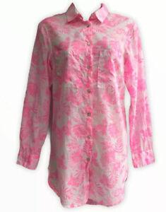 H&M Cotton Blouse 8 10 UK Summer Hawaiian light Floaty Pink Print Shirt Dress