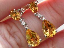 NEW Yellow 3ct Citrine & Diamond Pear Dangle Drop Earrings 14K White Gold