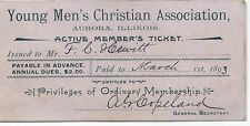 Antique 1893 Young Men's Christian Association - Aurora, IL Membership Card