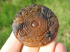 Natural Agate Chinese Calendar dragon pendant amulet A25