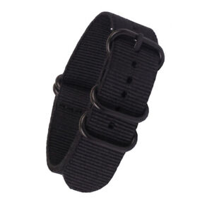 Strong sports New Heavy Duty PVD Black Buckle Nylon Watchband Watch Strap Band