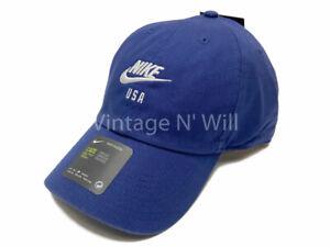 Nike USA Soccer Heritage 86 Blue/ White Swoosh Logo Adjustable Cap Dad Hat
