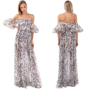 RRP €1625 BLUMARINE Silk Maxi Flared Dress Size 40 / XS Floral Made in Italy