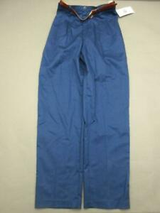 NWT Levis Size 12 Womens Navy Athletic Stretch Sport Cotton Belted Pants T011