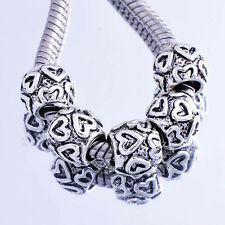 5PCS white Gold Filled Heart shape Beads Fit European style Charms Bracelet