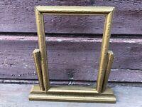 "Antique Wooden Art Deco Standing Swivel Picture Frame Gold 6.25"" x 4"" photo sz"