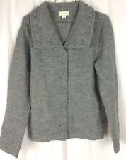 Appleseed's Sweater Jacket 100% Wool Gray Crochet Trim Pockets Size S