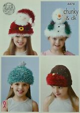 KNITTING PATTERN Childrens Novelty Christmas Hats Tinsel Chunky King Cole 4478