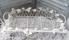 Tablett WHITE ROSE Dekokorb Metall Rosen Shabby Chic Landhaus Weiß