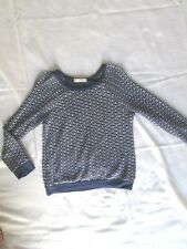 GENTLY WORN! Soprano size S small blue white womens sweater top soft light