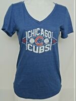 NEW Chicago Cubs MLB Soft As A Grape Heathered SS V-Neck Tee Shirt Women's M