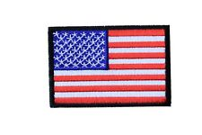 AMERICAN FLAG W/BLACK BORDER-USA-PATRIOTIC/IRON ON EMBROIDERY APPLIQUE PATCH