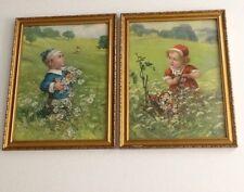 Vintage/Antique? Prints Children Picking Mountain Flowers Bird Butterfly Framed