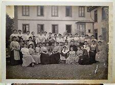 Foto Antigua Finxixe Escuela De Jóvenes Chicas 18 X 25CM B&n Gelatino-Bromure