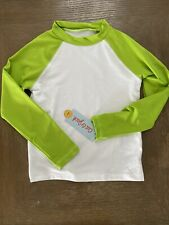 New Boys Cat & Jack White & Green Swim Top Shirt 50+ Upf long sleeve 2T