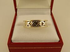 Ladies Mens 9ct Gold Pattern WEDDING BAND RING Hm 5.8gr Sz O 56b