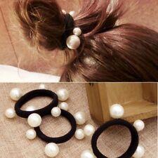 New Korean Women White Pearl Black Hair Rope Hairpin Headwear Hair Accessories