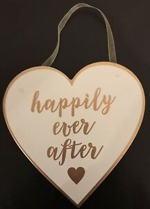 White And Gold Happily Ever After Wooden Hanging Heart Plaque Sign