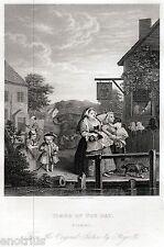 William Hogarth: Fois of the Day: le soir. satire. ACIER Impression antique.