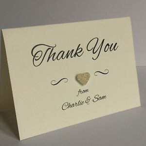 Glitter Heart Personalised Handmade Wedding Thank You Cards & Envelopes. Kate