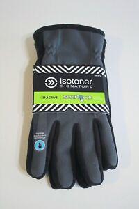 Isotoner Men's Winter Gloves Size XL Gray Black