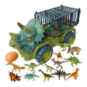 Kids Dinosaur Truck Toy Set Transport Car Carrier Truck Birthday Xmas Gift
