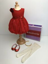 Genuine American Girl Doll. Gorgeous Red Flower Ruffle Outfit VGC Boxed.🇬🇧