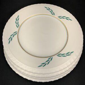 "4 Coronation Hanover China Dinner Plates 1950s 9 7/8"" Dia Green Leaf Gold Dots"