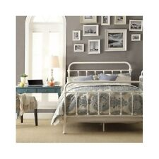 Queen Size Bed Vintage Antique Iron White Metal Headboard Footboard Frame Beds