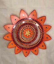Orange Large Sunflower Wood and Mirror Hanging Sun Mobile Suncatcher Handmade
