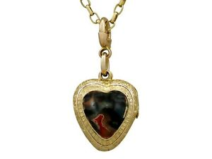 Antique Victorian Agate and 9k Yellow Gold Heart Locket