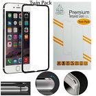 Twin Pack Metal Edge iPhone 7 Plus Black Gorilla Screen Protector Tempered Glass